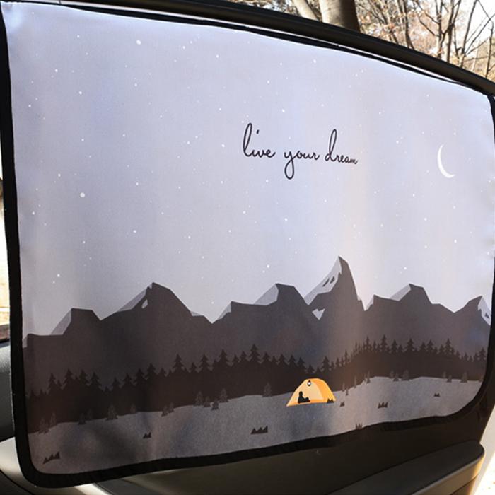 베베데코 차량용 캠핑 자석 양면 햇빛가리개, 네이비, 1개
