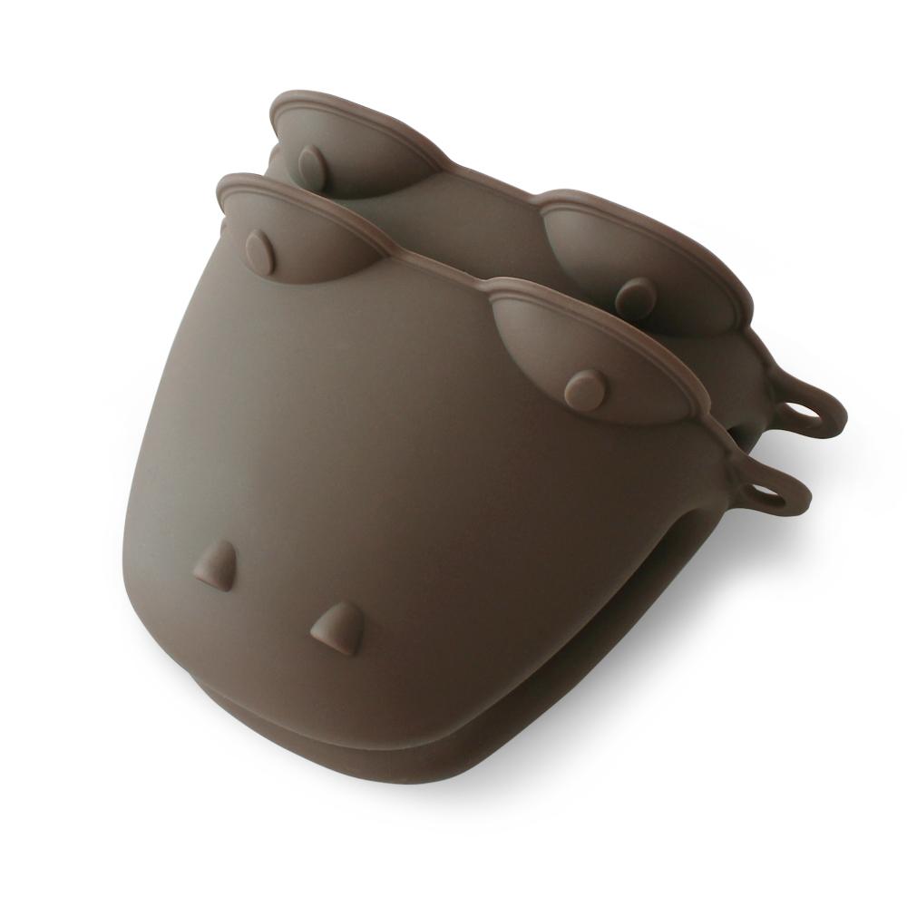 키친팩토리 파스텔 악어 실리콘 냄비장갑, 밀크브라운, 2개입
