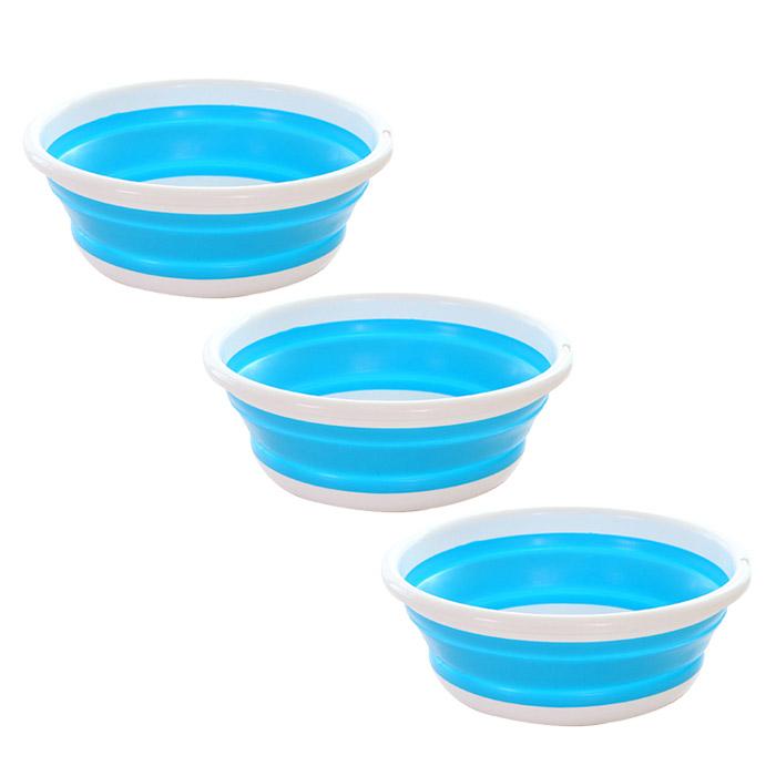 앤티스 주방용 접이식 설거지통 L, 블루, 3개입