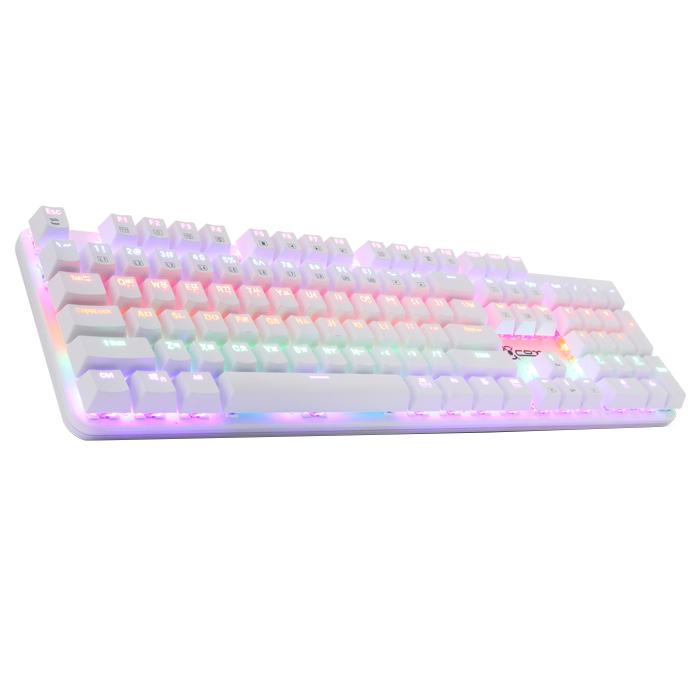 COX 축교환식 레인보우 LED 기계식 게이밍 키보드 청축, CK420, 화이트