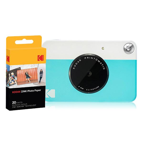 코닥 디지털 즉석 카메라 프린토메틱 + 인화지 20p 세트, 블루, 1세트