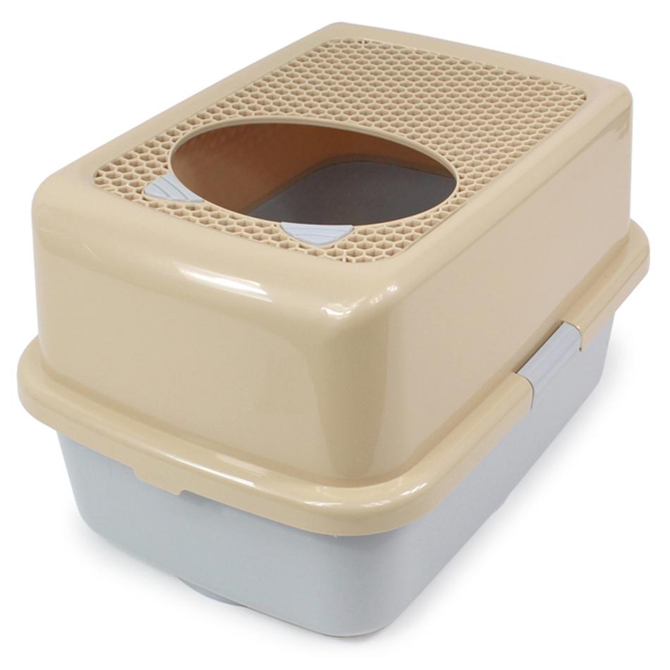 Product Image of the CMKOR 폴라리스 탑그리드 고양이 후드화장실 + 스쿱홀더 + 모래 삽, 브라운