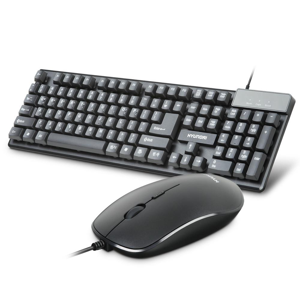 현대 INOGRAB 멤브레인 USB 키보드 + 슬림형 마우스 세트, HD-MK3900, Black