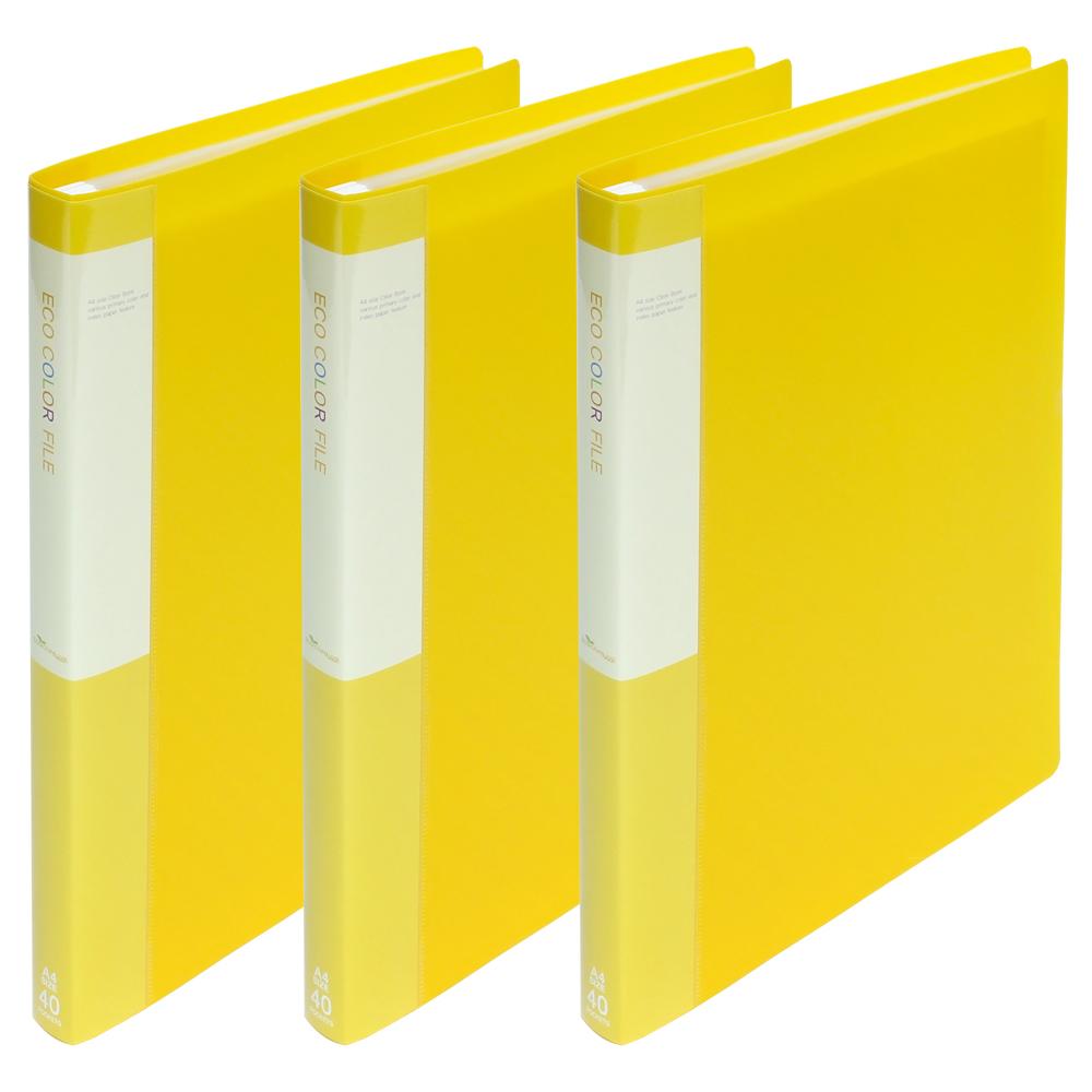 청운 PP 클리어화일 A4 40매, 노랑, 3개