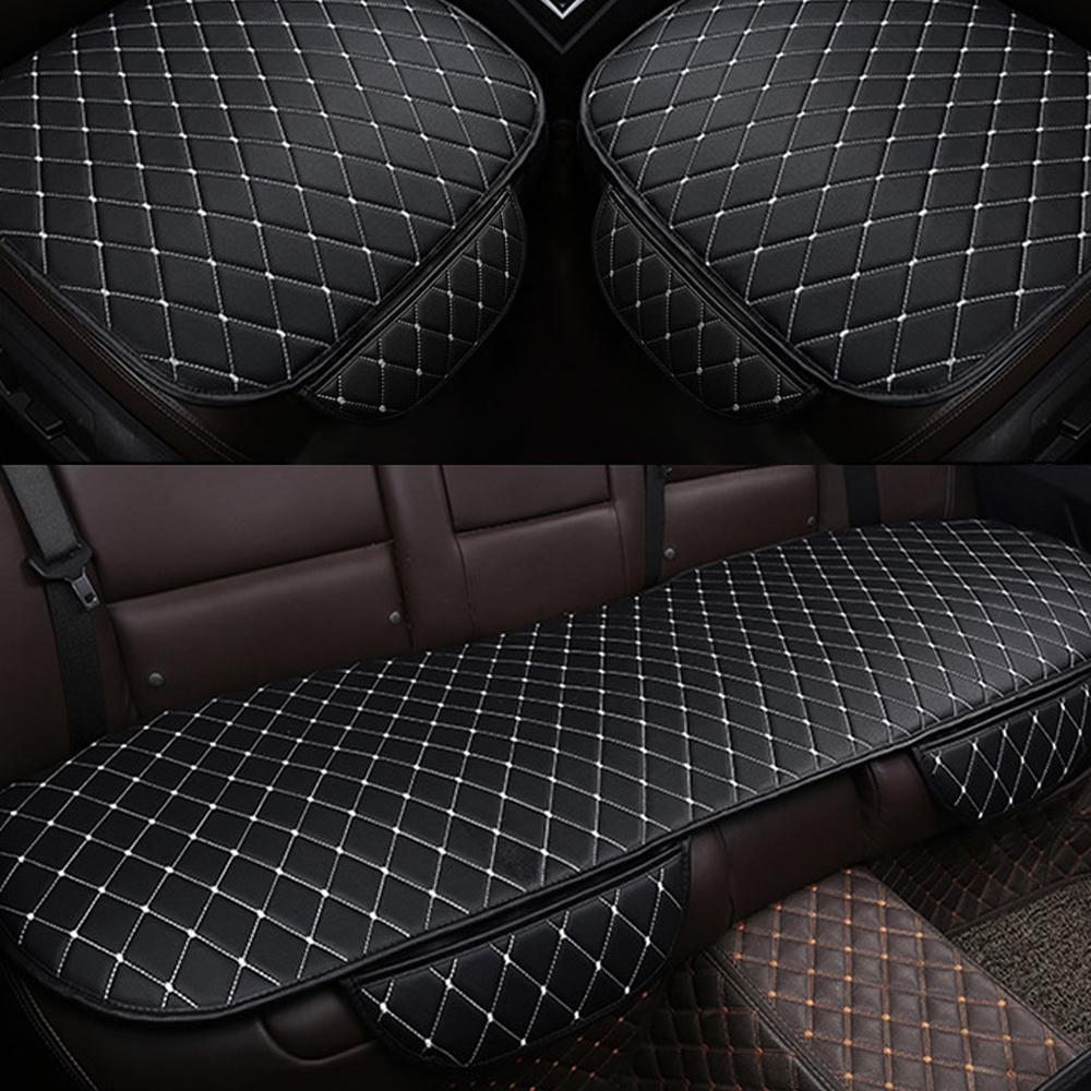 킨톤 가죽 퀄팅 차량용 방석 3p 세트, 화이트, 1세트