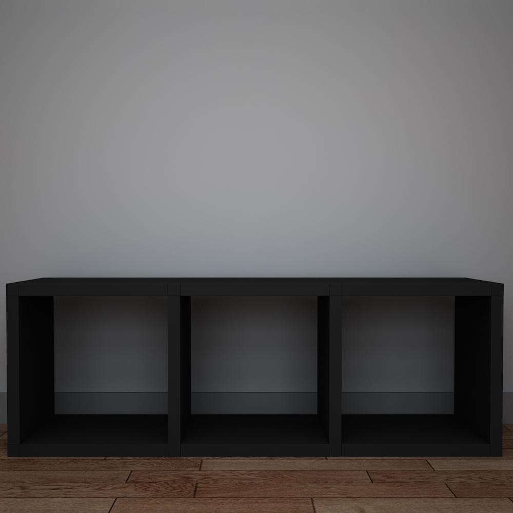 큐빅스 1 컬러 공간박스 3단, 블랙