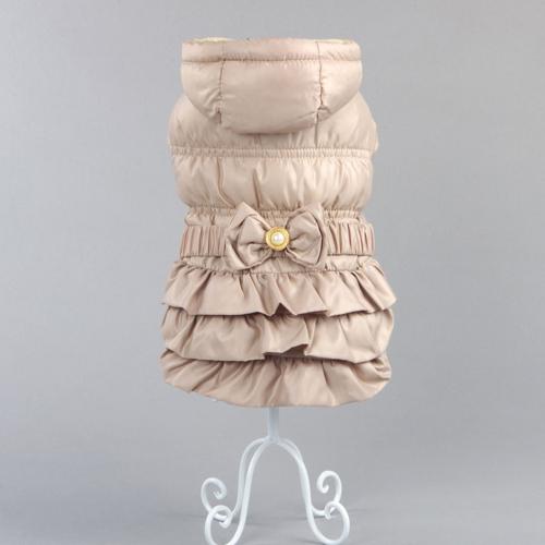 댕댕이주식회사 반려동물 주름 패딩 드레스, 베이지