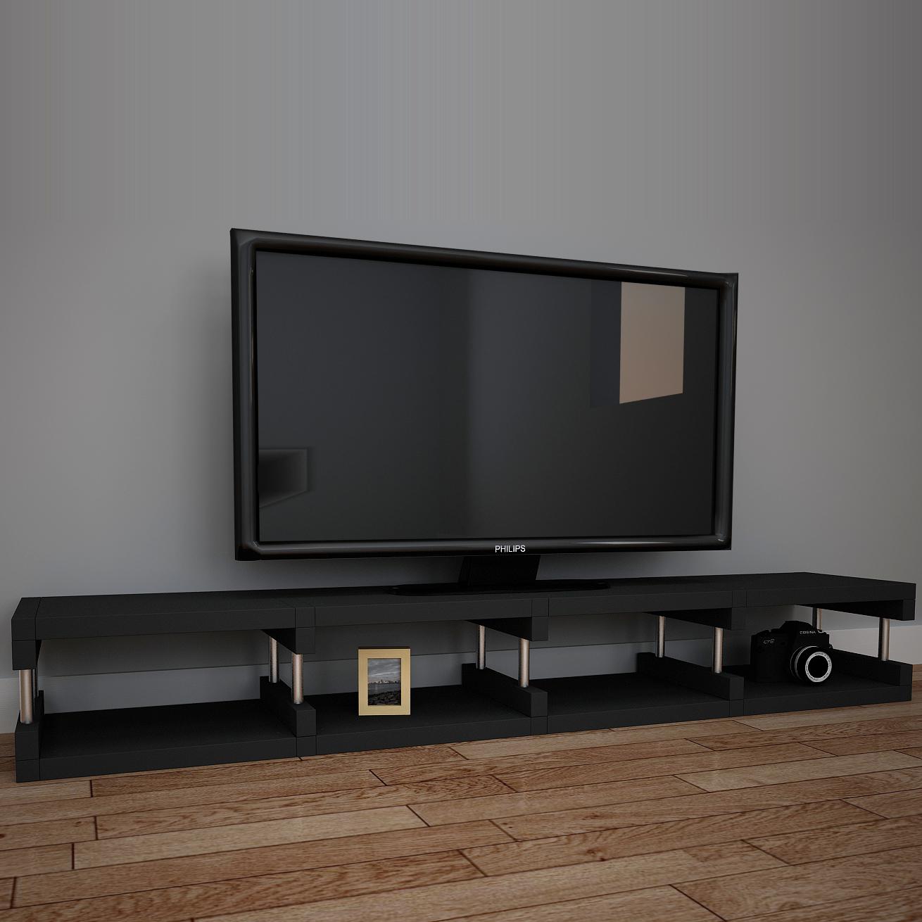 큐빅스 TV 거실장 HP4 1, 블랙