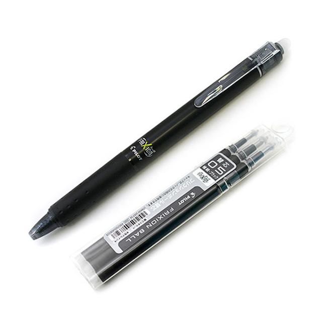 파이롯트 프릭션 지워지는 볼펜 리필세트 0.5mm, 블랙, 1세트