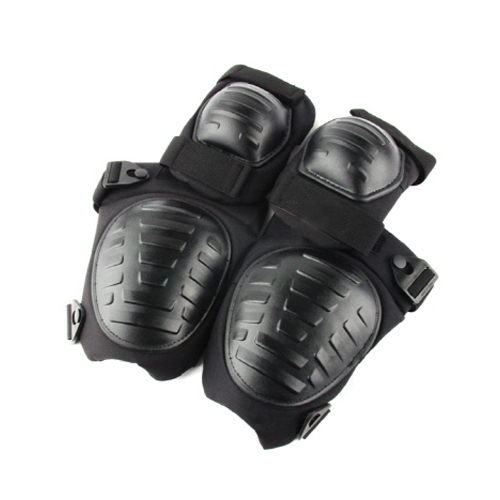 스페이버 택티컬 팔꿈치 보호대 + 무릎 보호대 세트, 블랙