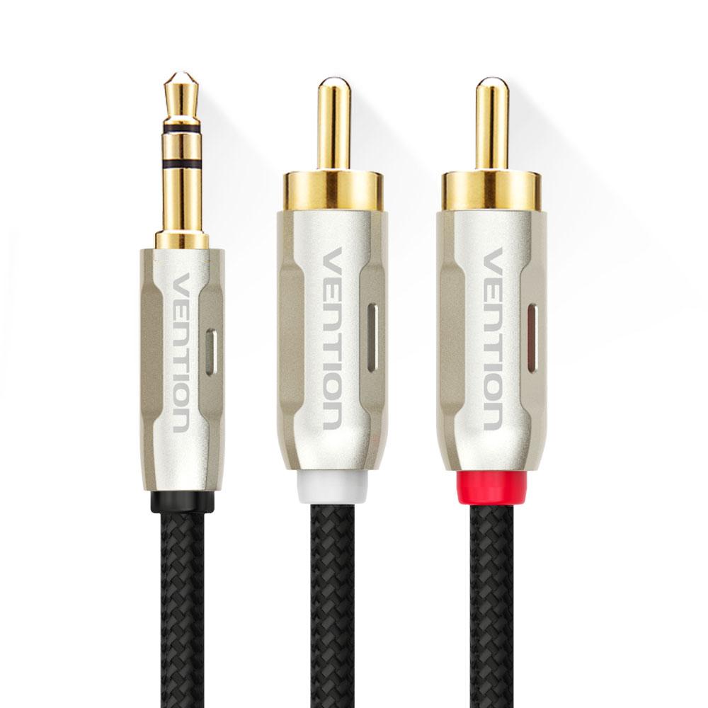 벤션 프리미엄 3.5 스테레오 to 2 RCA 오디오 케이블 은도금 1.5m, 단일 상품, 혼합 색상