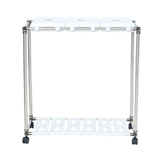 리빙해피 클링 화이트 분리수거함 3p + 분리수거함 전용스티커, 분리수거함(실버 + 화이트), 스티커(TEXT 블랙), 1세트