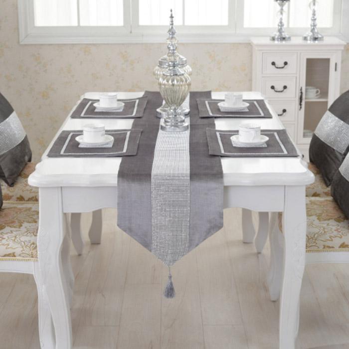 앤티스 고품격 유럽스타일 샹델 테이블 러너, 그레이, 32 x 250 cm