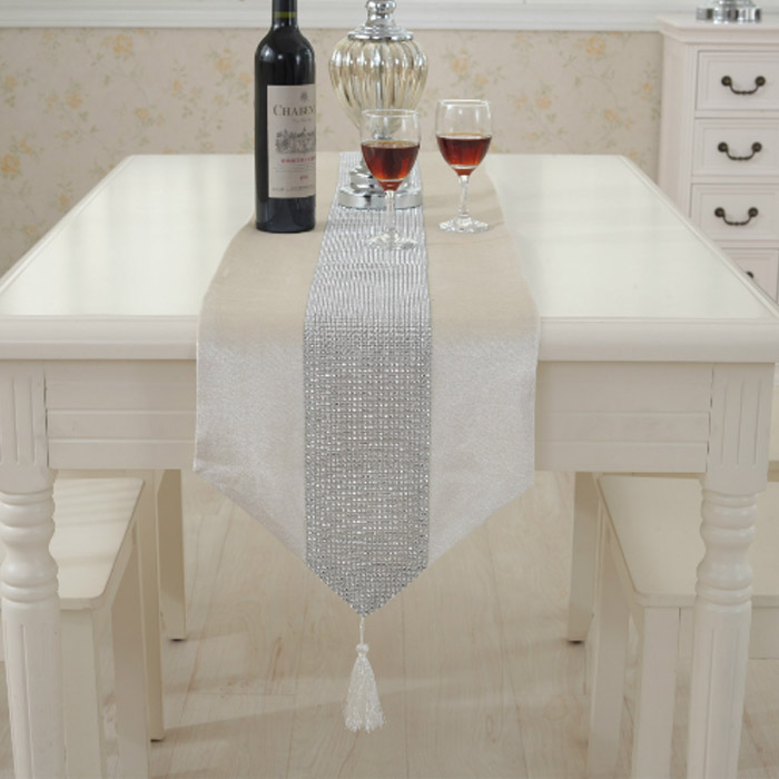 앤티스 고품격 유럽스타일 샹델 테이블 러너, 화이트, 32 x 250 cm