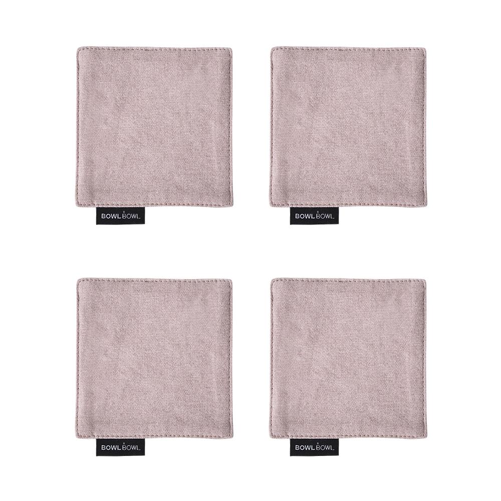 보울보울 볼볼모던 사각 코튼 코스터 4p, 핑크