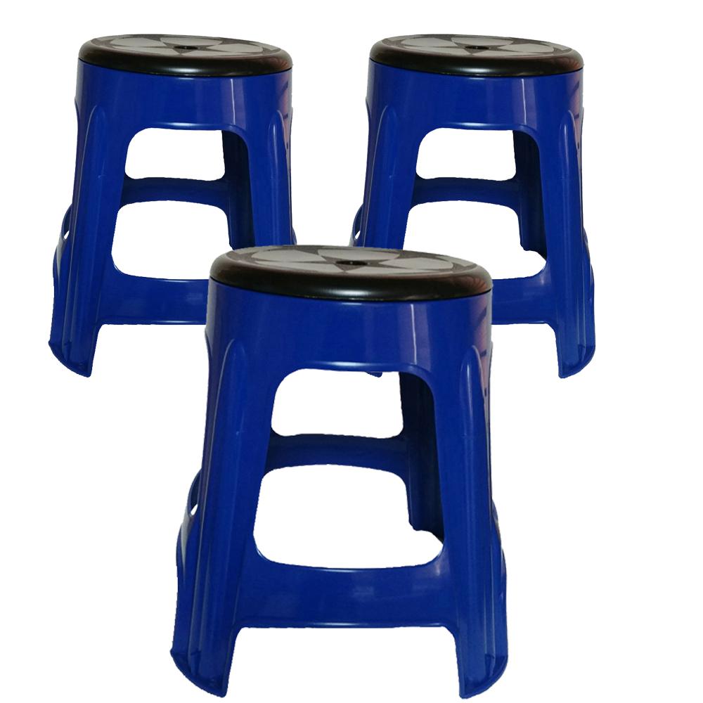 투에이산업 원형 회전의자 3p, 블루