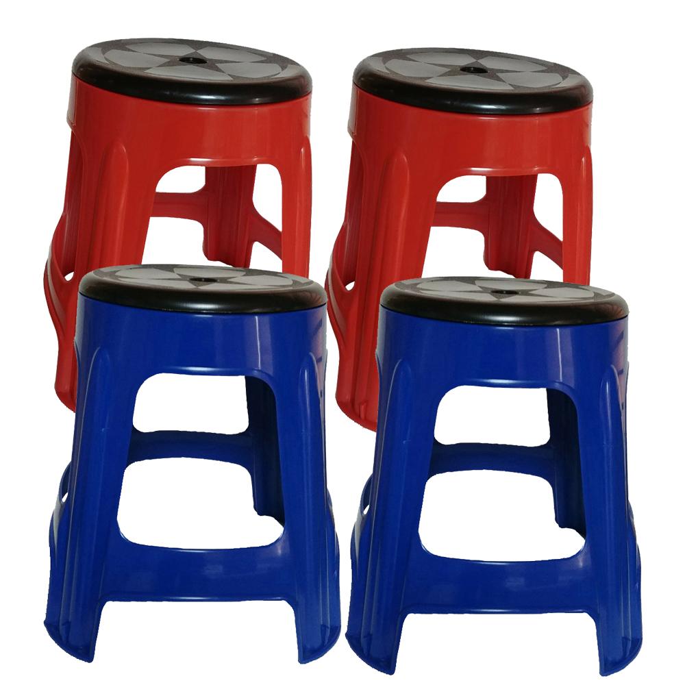 투에이산업 원형 회전의자 레드 2p + 블루 2p, 혼합 색상