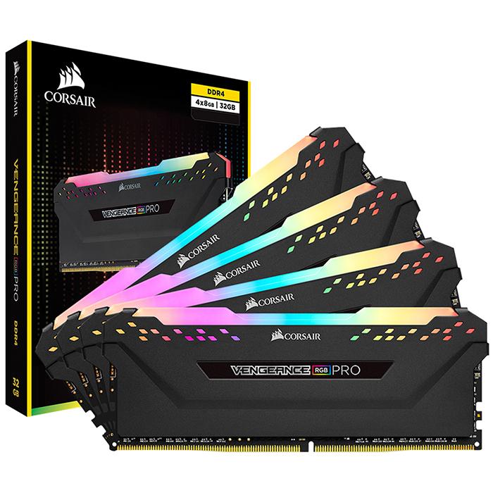 커세어 DDR4 32GB kit PC4-27700 CL16 VENGEANCE PRO RGB 데스크탑용 램 8GB BLACK 4p CMW32GX4M4C3466C16