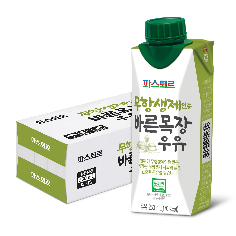 파스퇴르 무항생제 바른목장 우유, 250ml, 18개입