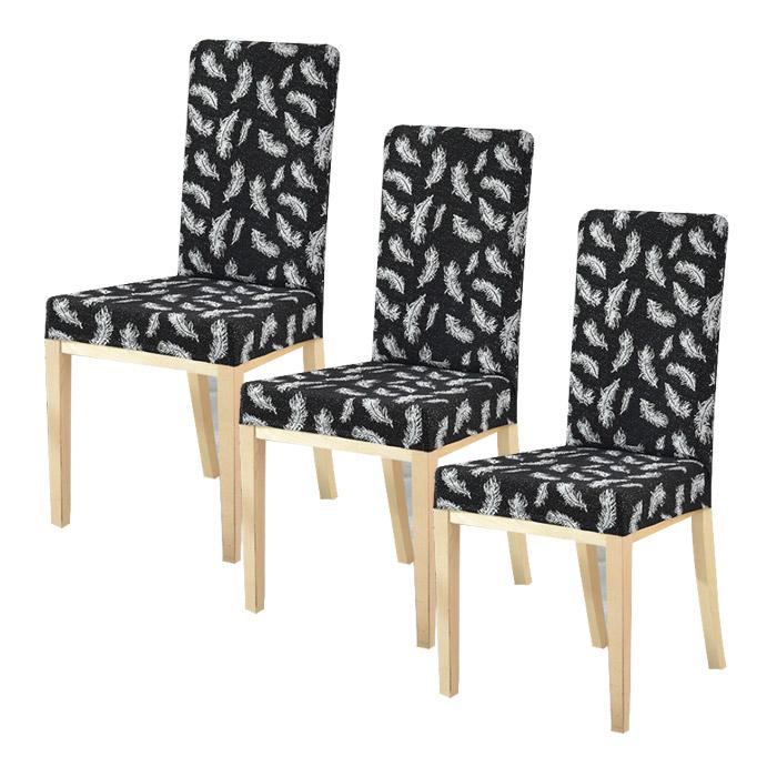 저스틴앤클로이 스판 범용 식탁의자 커버 3p, 깃털 블랙
