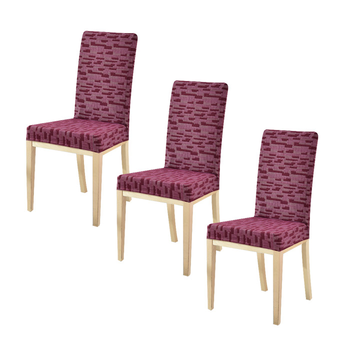 저스틴앤클로이 스판 범용 식탁의자 커버 3p, 루빅큐브 와인