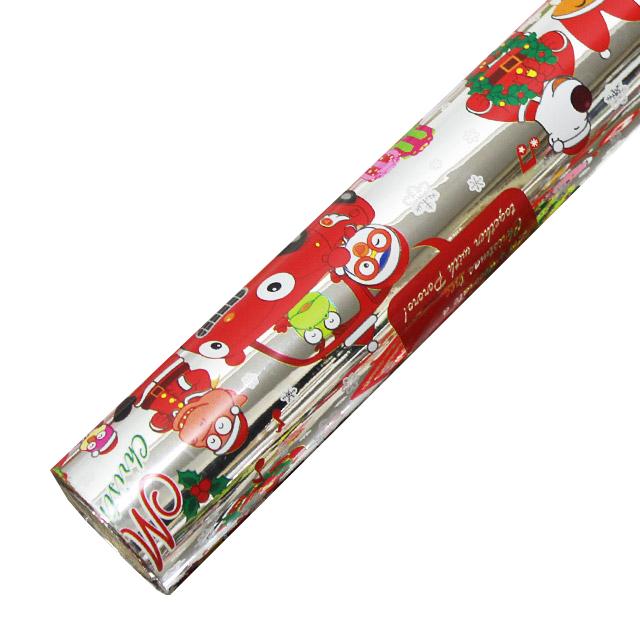 포포팬시 뽀로로 크리스마스 비닐 증착 포장지, 실버, 1개