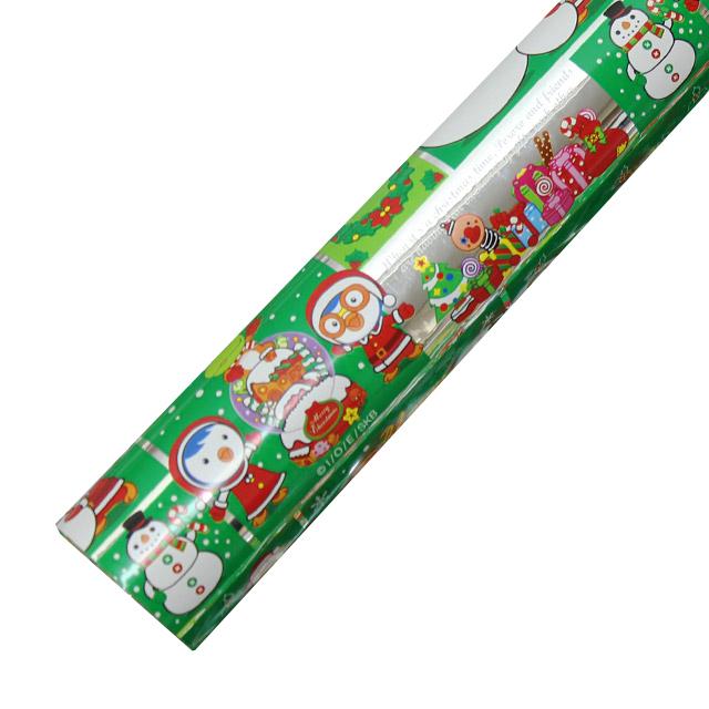 포포팬시 뽀로로 크리스마스 비닐 증착 포장지, 녹색, 1개