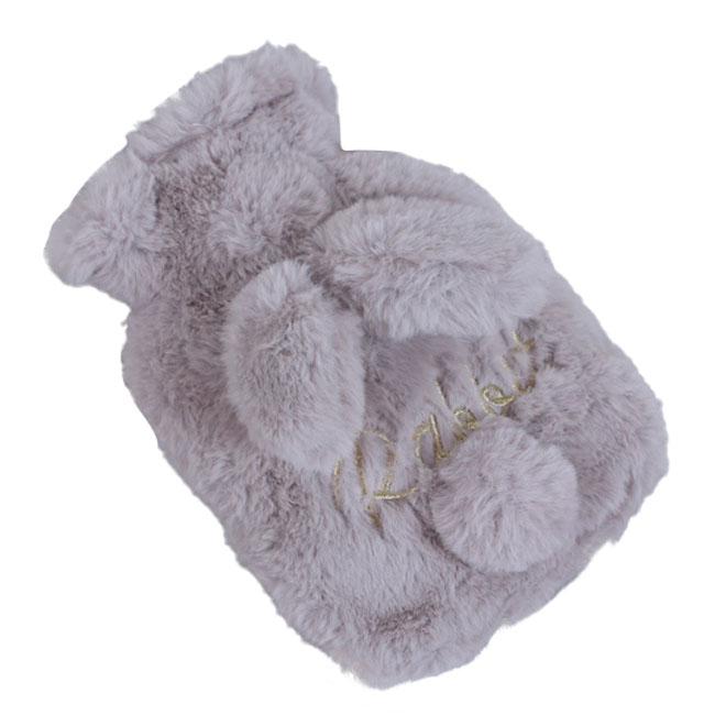 슈퍼식스 토실토실 토끼 모양 온수 핫팩 중 회색, 1개