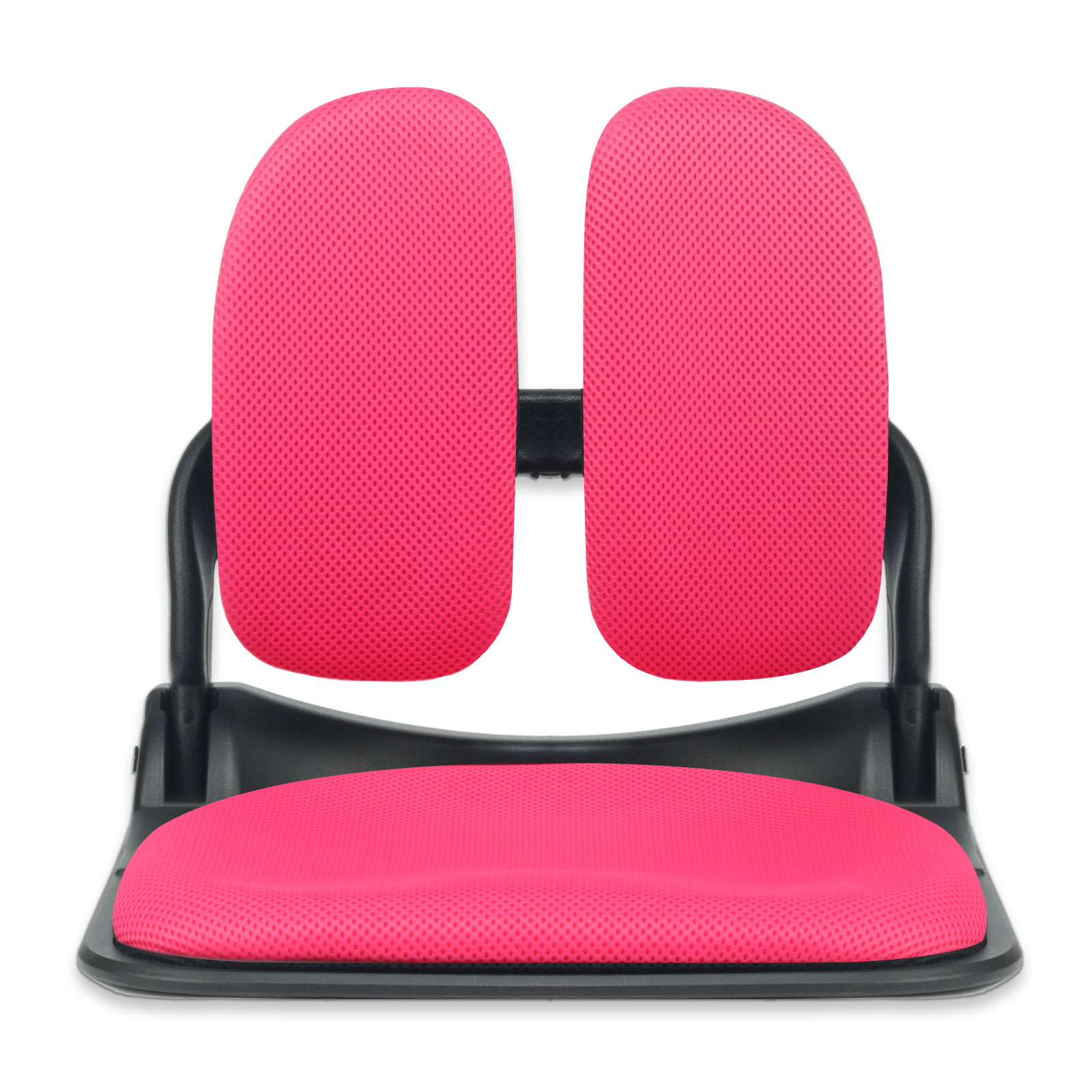 이편한의자 블랙프레임 접이식 듀얼 메쉬 좌식의자, 핑크