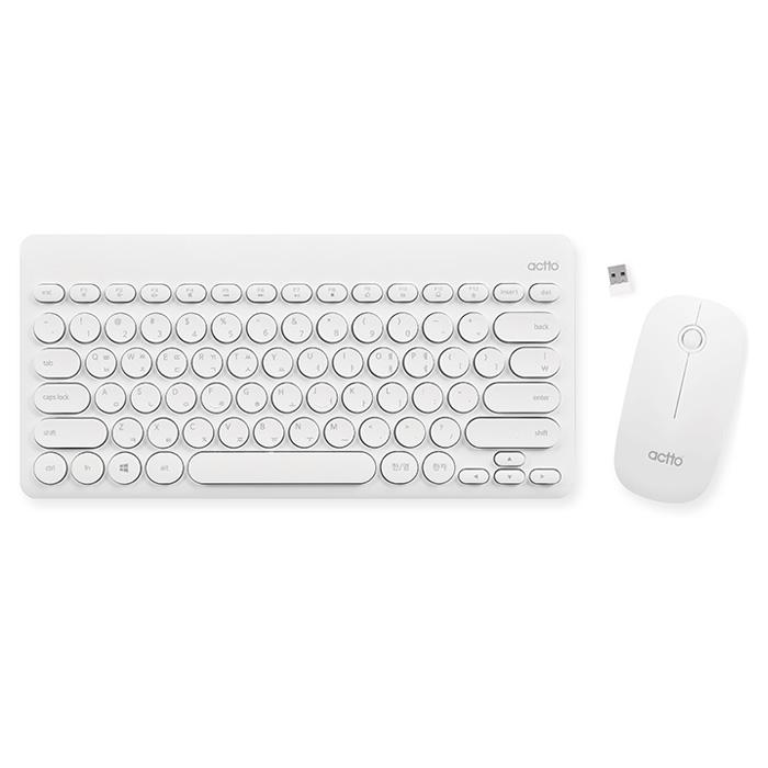 엑토 미니 레트로 무선 키보드 + 마우스 콤보, KMC-03, WHITE