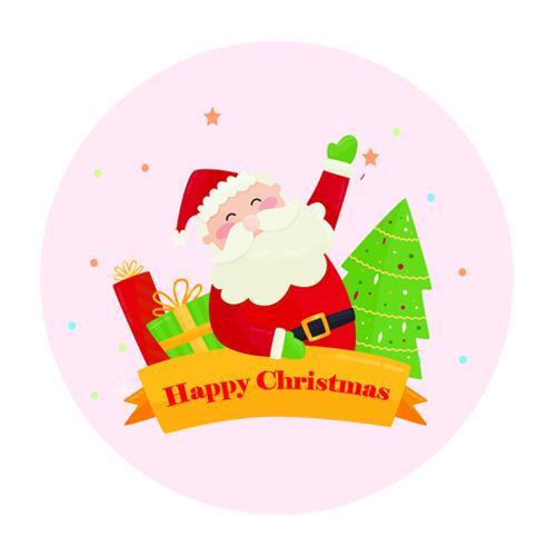도나앤데코 컬러풀 크리스마스 인사하는 산타 원형 스티커 7cm, 혼합 색상, 60개입