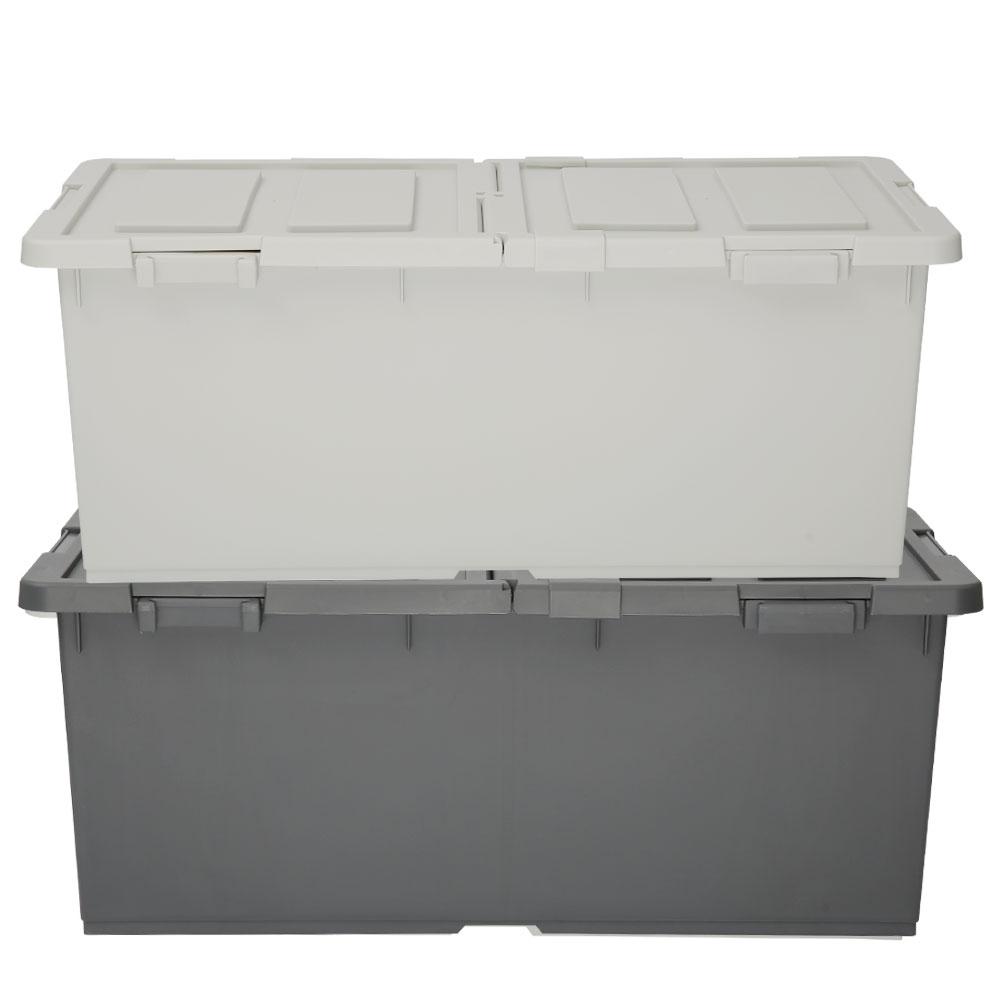 엔플라스틱 트레인 대용량 리빙박스 100L 2p 세트, 아이보리, 다크그레이, 1세트