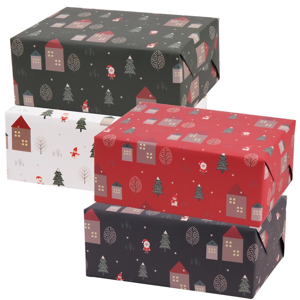 봄91 크리스마스 포장지 산타마을 4종 x 3p 세트, 레드, 그린, 화이트, 네이비, 1세트