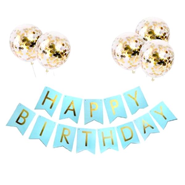 마켓감성 생일파티 가랜드 + 풍선 세트, 타입3, 1세트