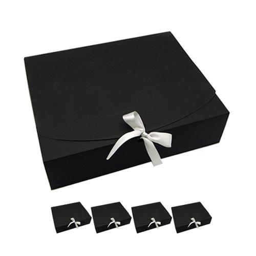 도나앤데코 직사각 중형 상자 + 리본, 블랙, 5세트