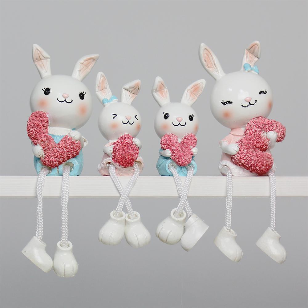 키다리 러브 토끼 인형장식 4p 세트, 핑크