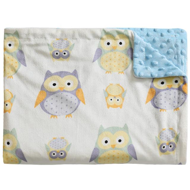 하늬통상 더블 극세사 아기담요 블랭킷 120 x 75 cm, 부엉이