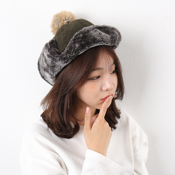 아이엠캡 누빔 벨크로 귀달이 모자