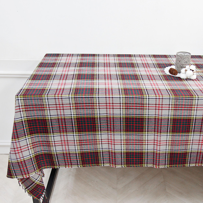 해피툴 크리스마스 체크 테이블커버, 그레이체크, 가로 194cm x 세로 158cm