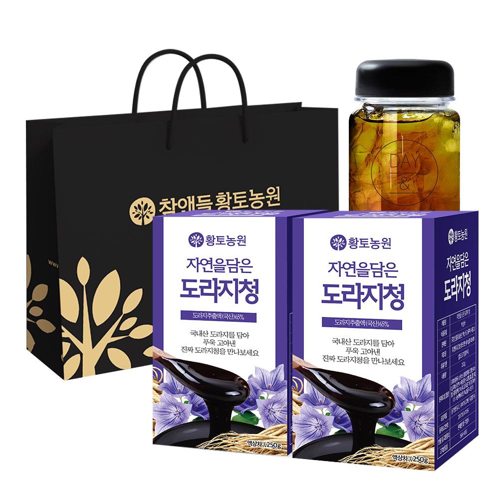 황토농원 자연을 담은 도라지청 250g x 2p + 보틀 + 쇼핑백, 1세트