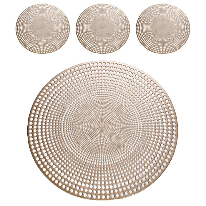 앤티스 고품격 라운드 테이블매트 4p, 샴페인골드, 38 x 38 cm