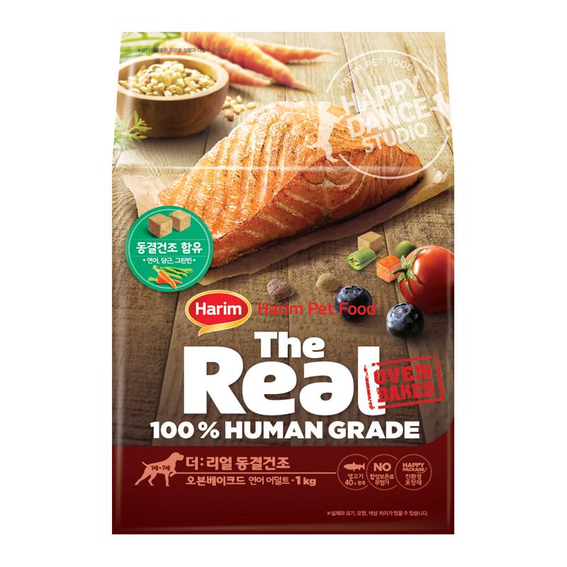 하림펫푸드 더리얼 동결건조 오븐베이크드 어덜트 강아지사료, 연어, 1kg