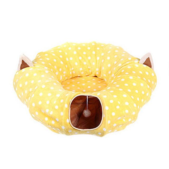 펫초이스 고양이 숨숨집 터널 방석, 옐로우, 1개