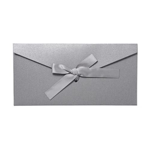 도나앤데코 제인 리본장식 롱 컬러 편지 용돈봉투 + 리본, 봉투(그레이), 리본(그레이), 10세트