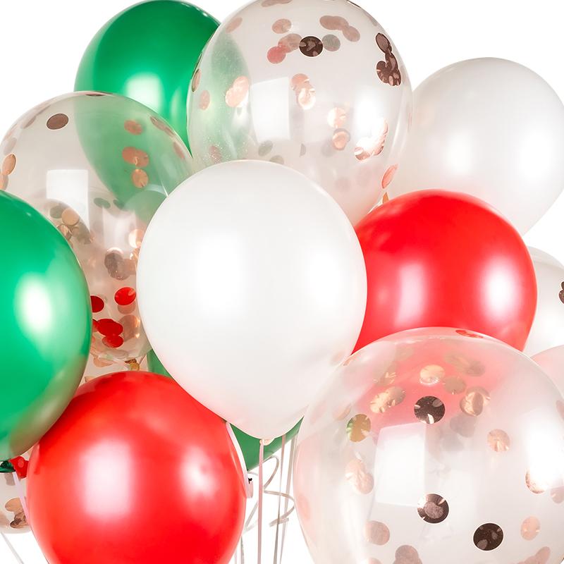 파티팡 헬륨풍선효과 컨페티벌룬 메리크리스마스 30p + 컬링리본 50m + 스폰지닷 50p, 은박 로즈골드, 1세트