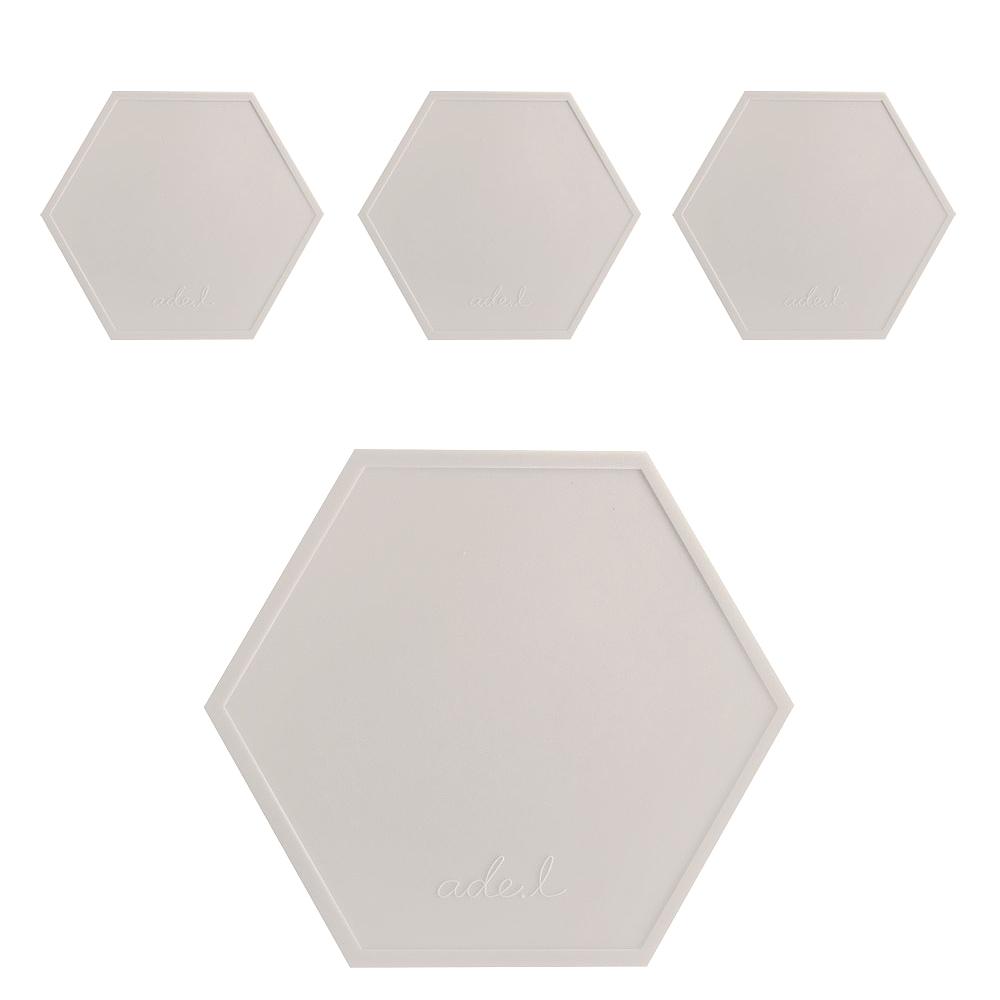 에이드엘 AL 헥사곤 실리콘 컵받침 4p, 베이지