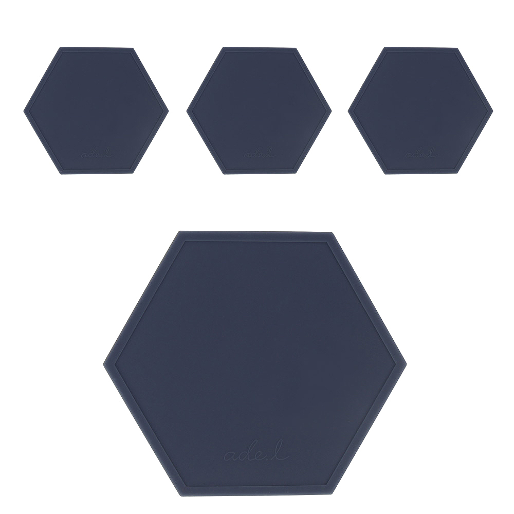 에이드엘 AL 헥사곤 실리콘 컵받침 4p, 퍼플