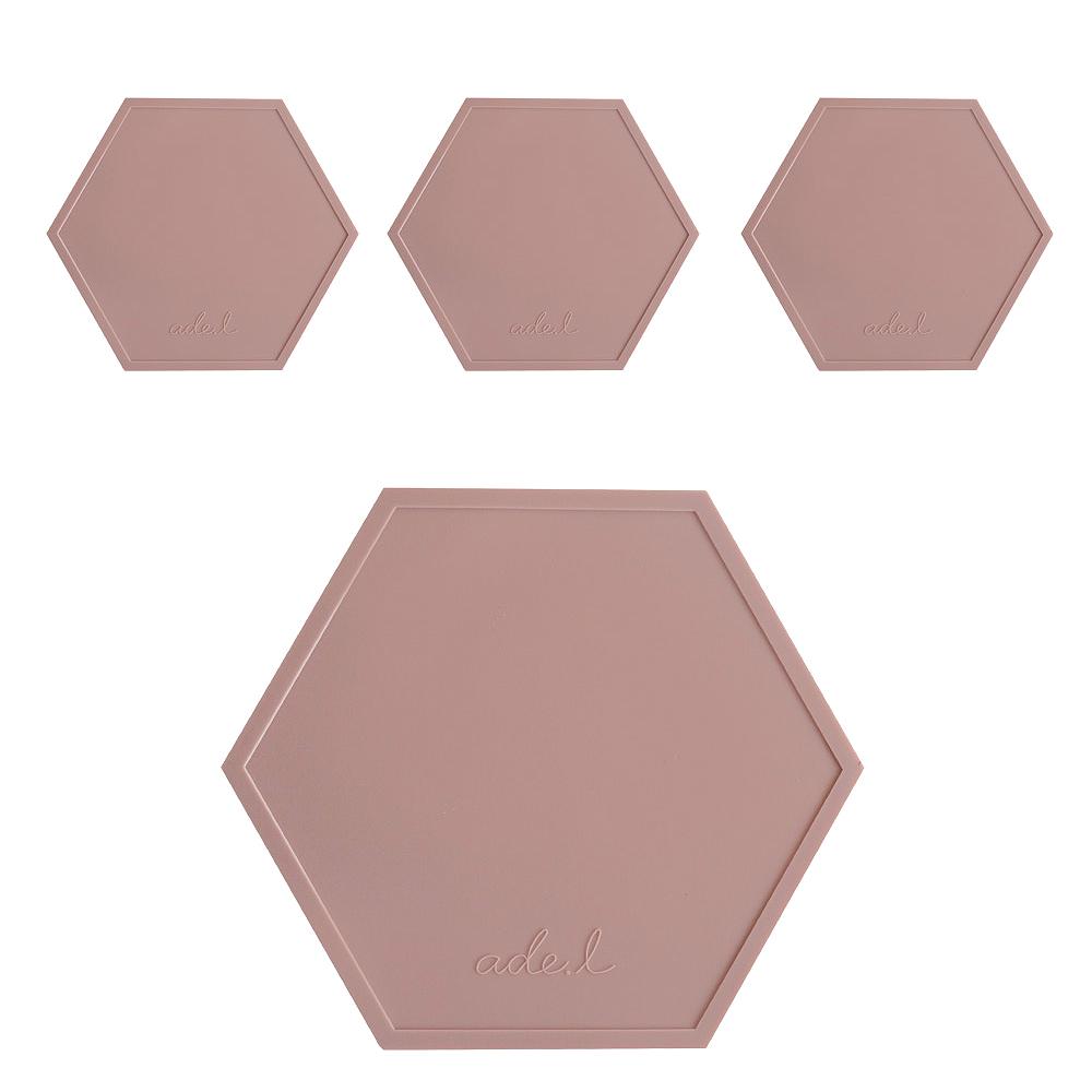 에이드엘 AL 헥사곤 실리콘 컵받침 4p, 브릭레드