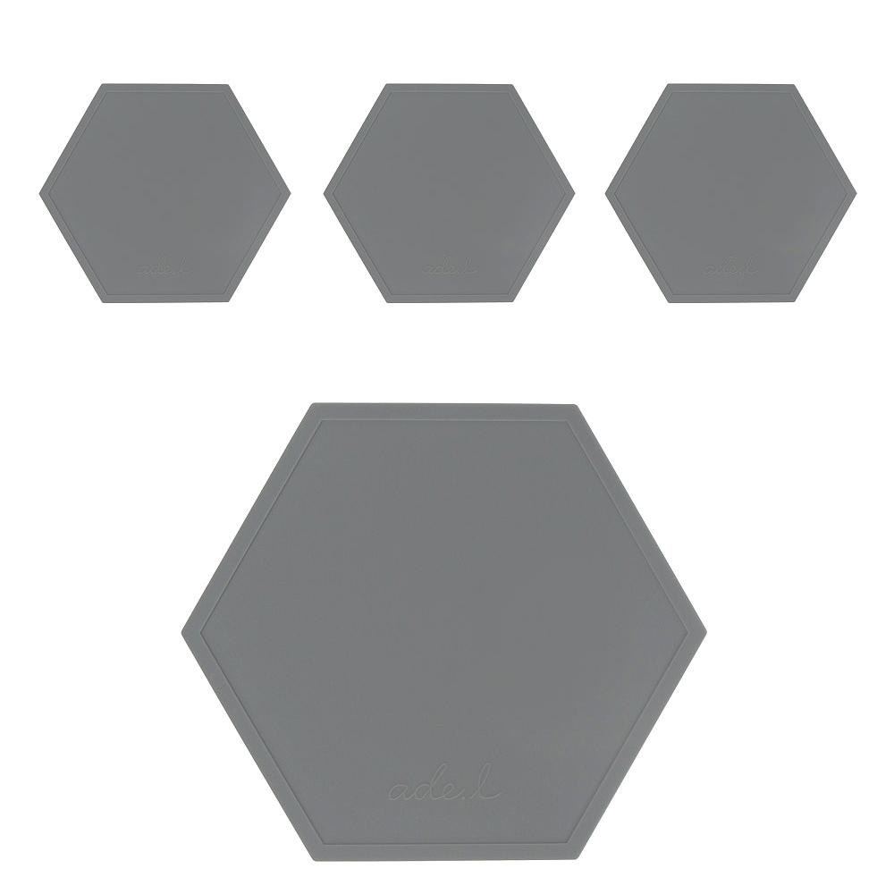 에이드엘 AL 헥사곤 실리콘 컵받침 4p, 다크그레이