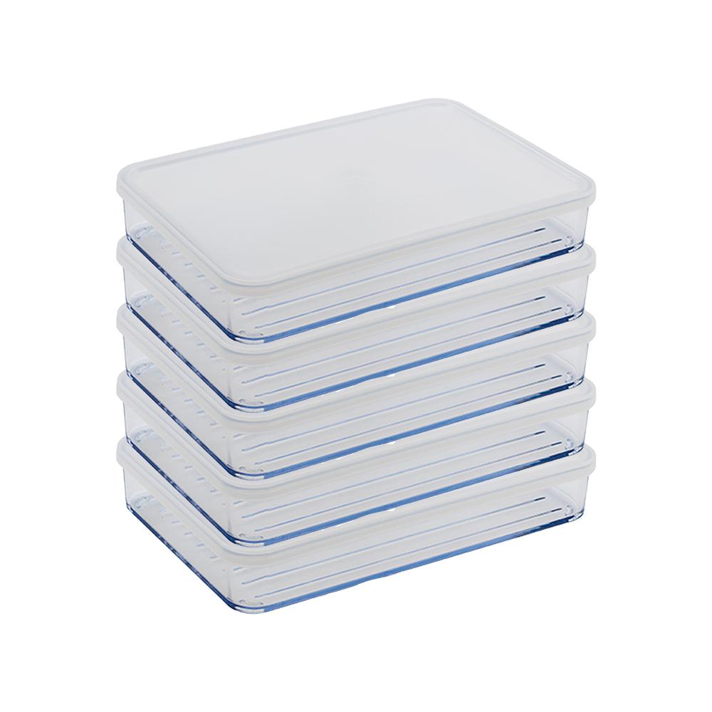 실리쿡 냉장고정리용기 납작 2호 화이트, 1개입, 5개